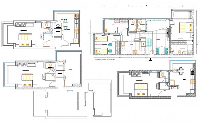Apartment House unit Furniture Layout plan CAD drawing