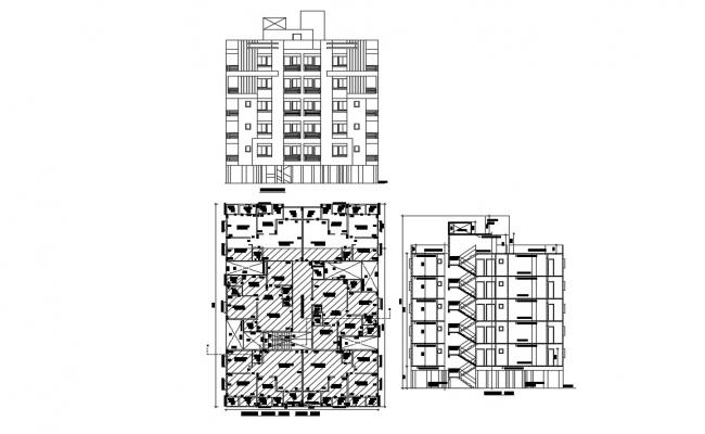 Apartment Plan Elevation and Section AutoCAD Drawing