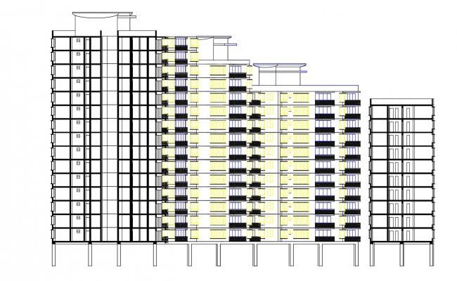 Apartment Sectional Elevation Design AutoCAD File