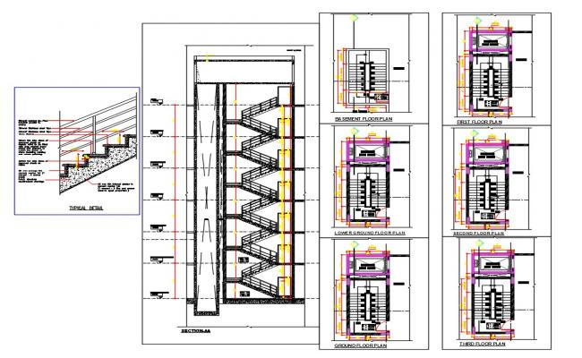 Apartment Staircase Section Plan DWG File