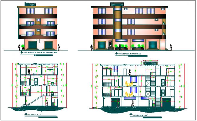 Apartment building elevation design dwg file