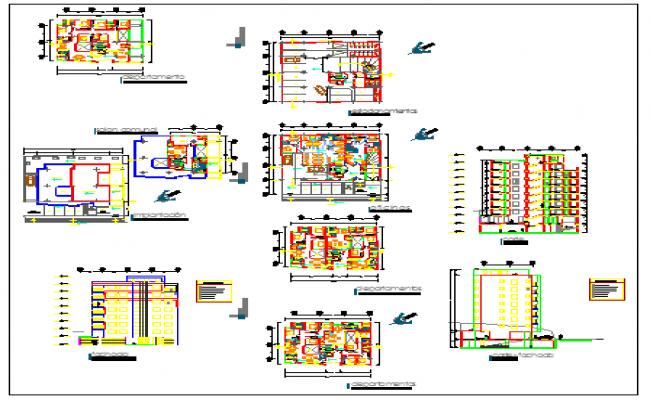 Apartment building modern and minimalist design drawing