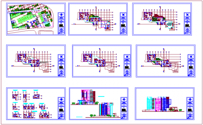 Apartment design view with plan & elevation view with floor dwg file