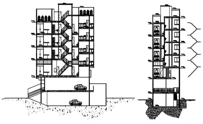 4 Floor Building Design In DWG File