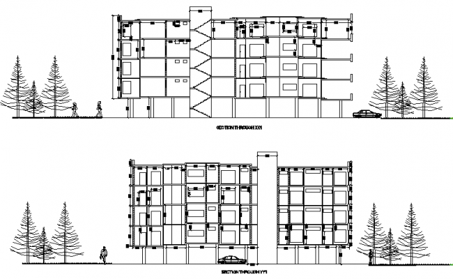 Apartment elevation and section detail dwg file