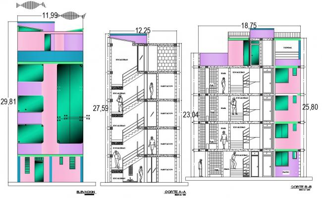 Apartment elevation and section details