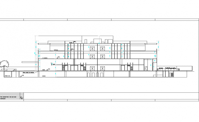 Apartment flat exterior elevation view detail dwg file
