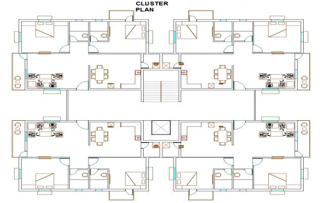 Apartment flat plan detail dwg file