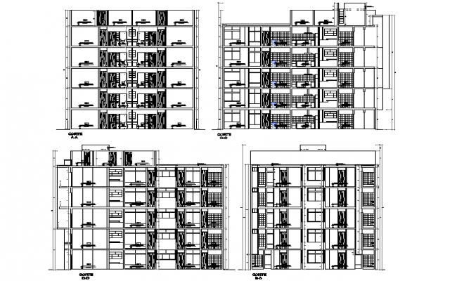 Apartment flat section detail dwg file