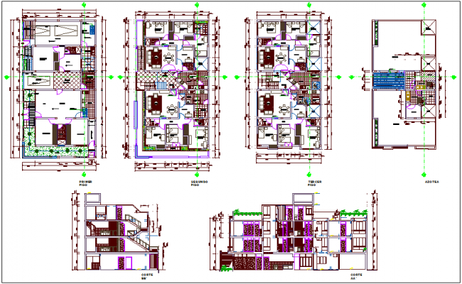 Apartment floor plan and sectional view design dwg file