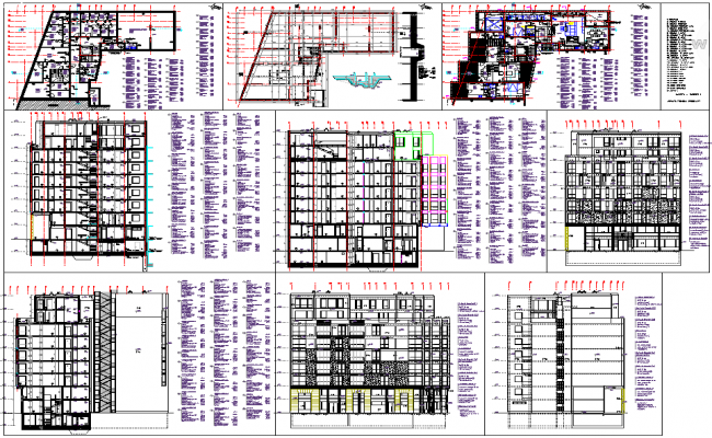 Apartment multistory building architecture drawing and detail