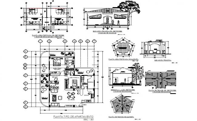 Apartment plan, elevation and section detail dwg file