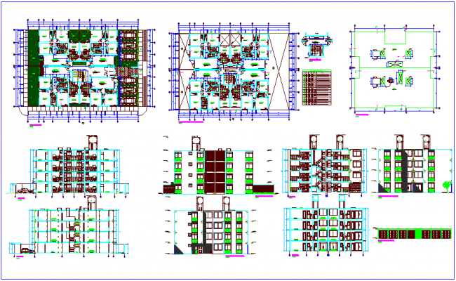 Apartment plan,sectional and elevation view with door and window view dwg file