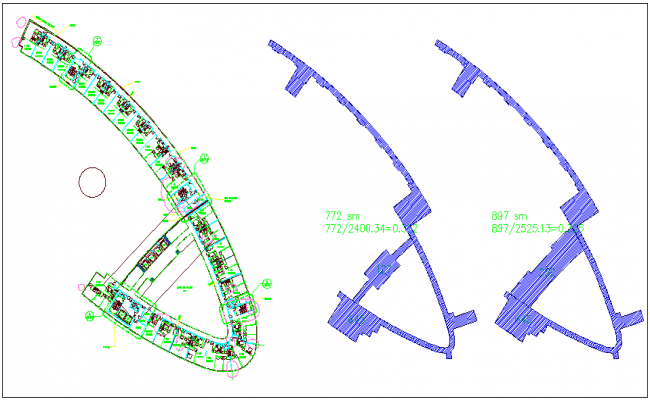 Apartment plan with block view dwg file