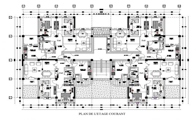 Apartment tower plan detail dwg detail.,