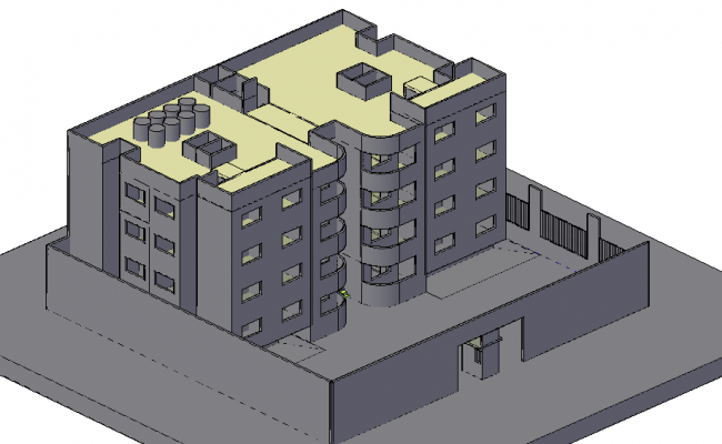 Apartment view in 3d with architectural view dwg file