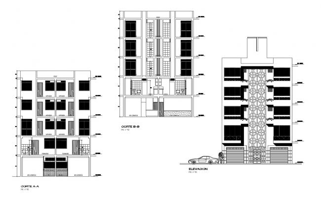 Apartment elevation design in AutoCAD file