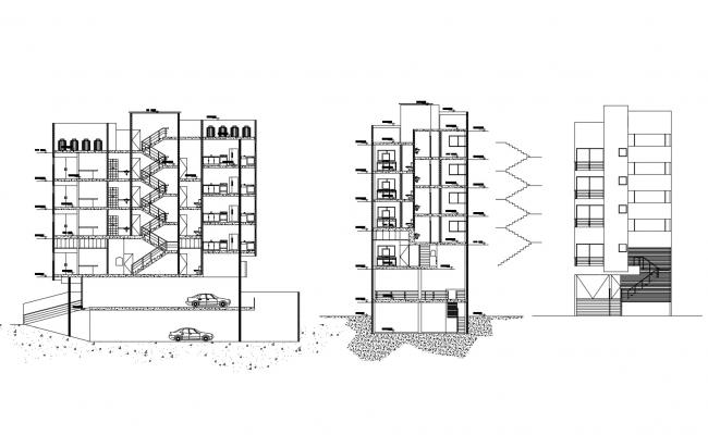Apartment with section and elevation in dwg file