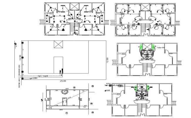 Apartment 2 BHK House Plumbing And Electrical Installation Plan