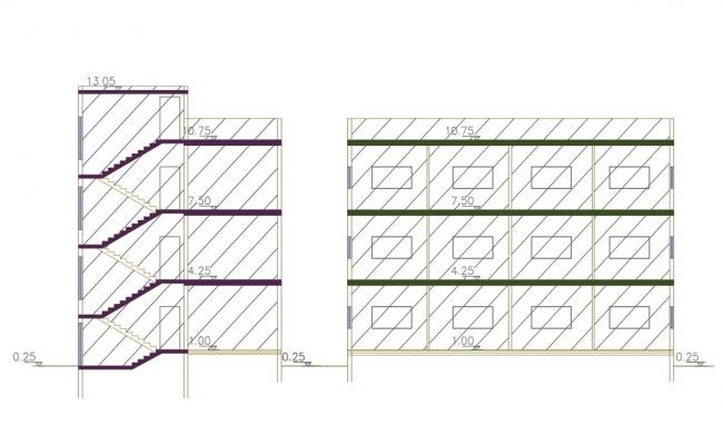 Apartment Building Section AutoCAD Drawing