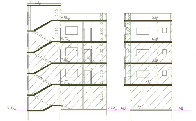 Apartment Building Section CAD drawing DWG File