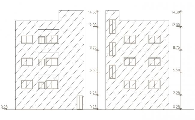 Apartment Front And Side Elevation Design DWG File