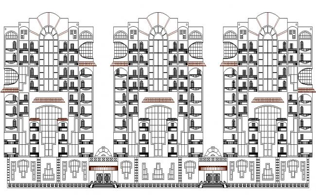 Apartments  front detailing 3d