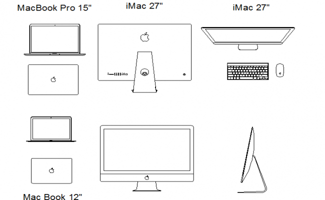 Apple computer detail dwg file