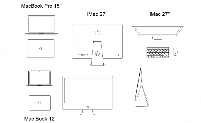 Apple macbook detail view dwg file