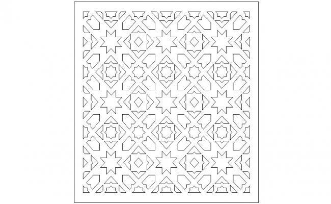 Arabic pattern tile elevation block cad drawing details dwg file