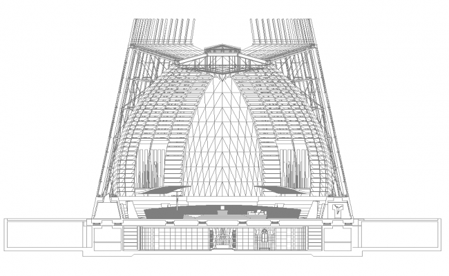 Arch shape commercial building detail elevation 2d view layout file