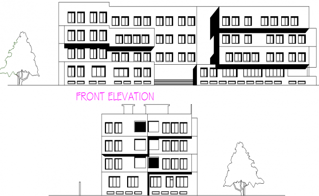 Architect College Elevation detail dwg file