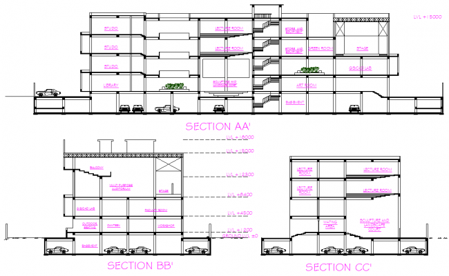 Architect College Section detail dwg file