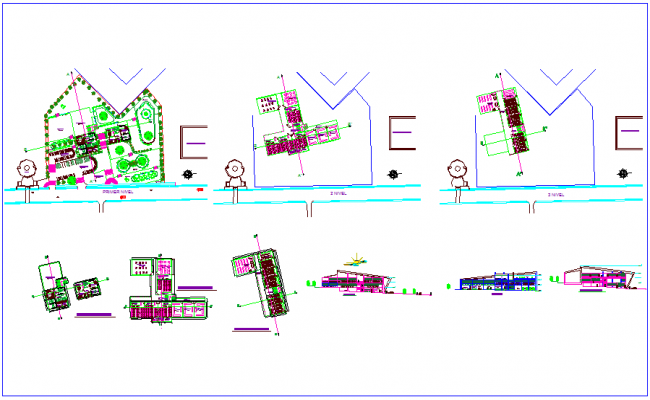 Architect collage plan view with sectional and elevation view dwg file
