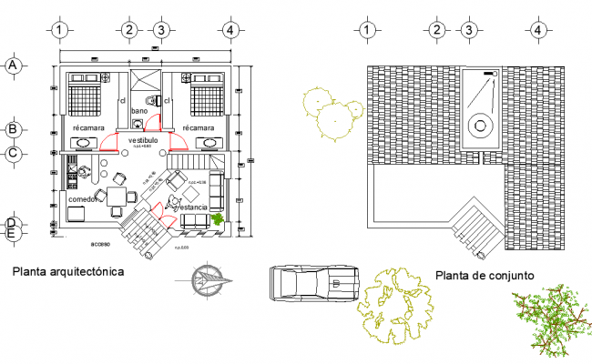 Architect house plan detail dwg file