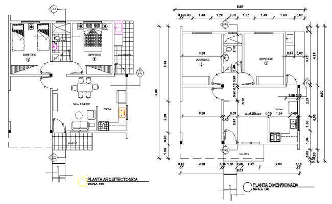 Architect house plan detail dwg file