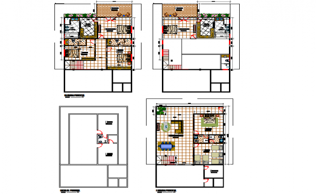 Architect house planing layout dwg file