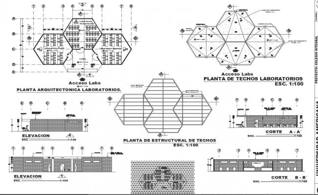 Architect plan, elevation and section detail dwg file