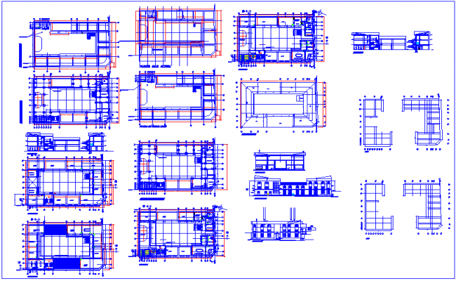 Architect plan and sectional view with structural view of education center dwg file