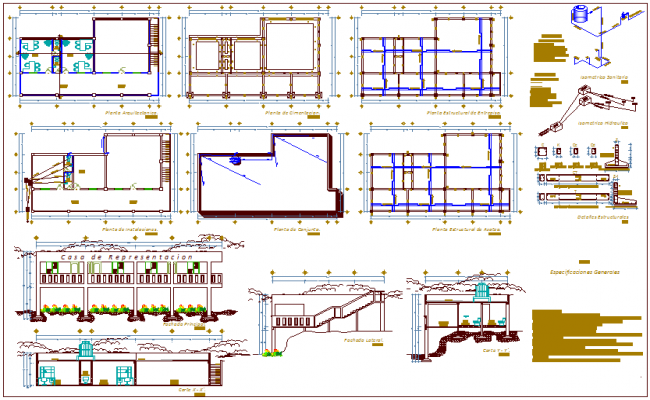Architectural,structural and installation plan with hydraulic line plan,elevation and section view for office dwg file