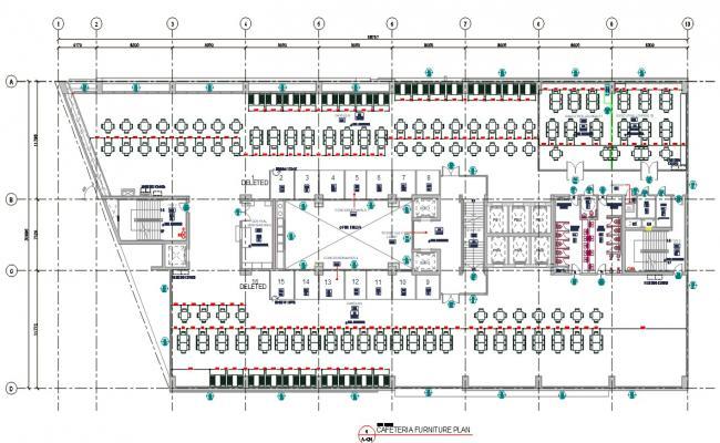 Architectural Cafeteria Furniture Plan AutoCAD File