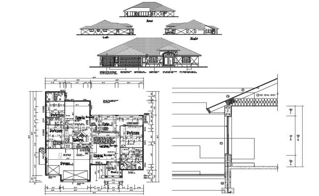 Architectural Elevation Design for Residential Houses CAD File