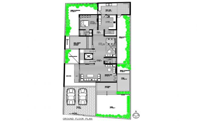 Architectural Home Ground Floor Plan AutoCAD Drawing