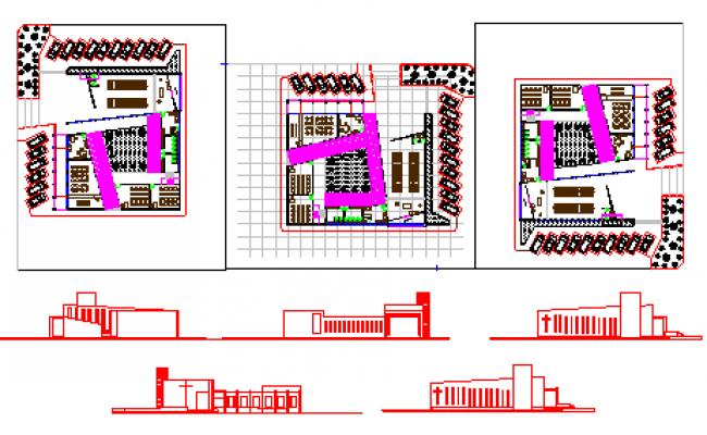 Architectural Modern church design drawing