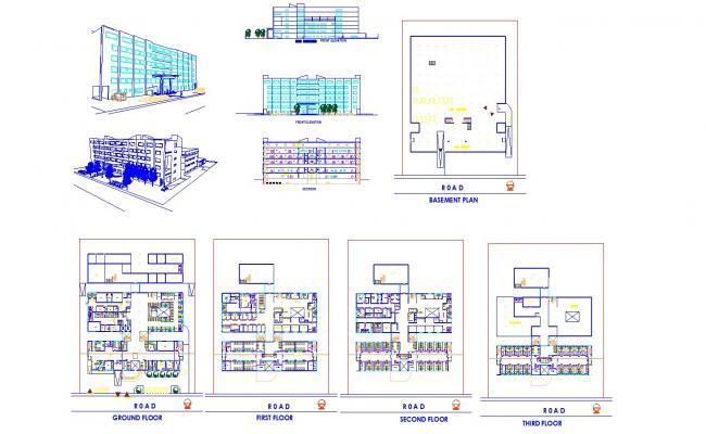 Multistory Building Plan In DWG File