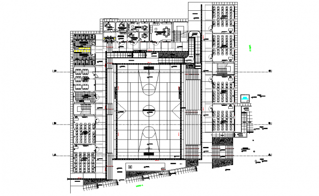 Architectural School project plan detail dwg file