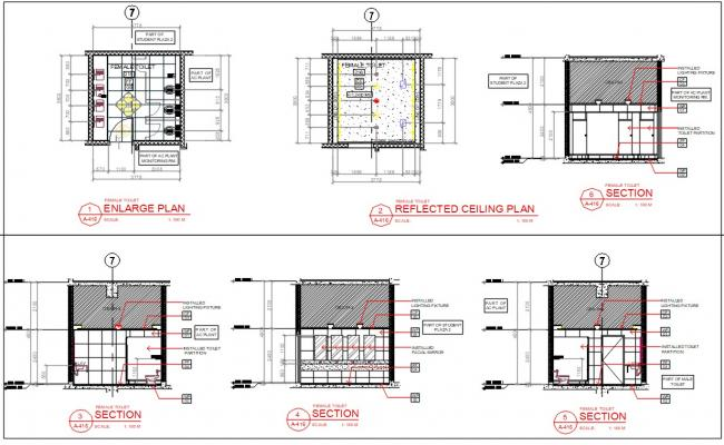 Architectural Toilet Plans And Section Drawing