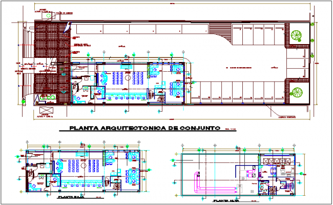 Architectural and floor plan of bank dwg file