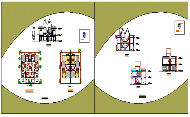 Architectural based Twin bungalow design drawing