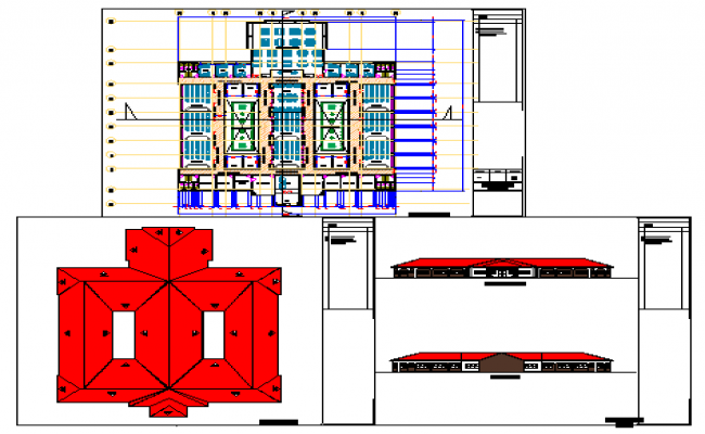 Architectural based academic block design drawing